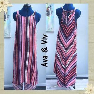 Ava & Viv Maxi MultiColor Striped Halter Maxi Dres